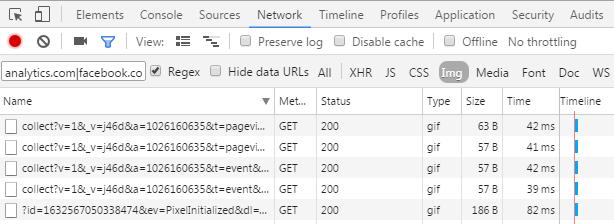 Requests in Chrome DevTools